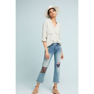 New Anthropologie Patched Mid-Rise Slim Boyfriend